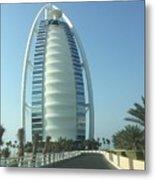 Sail-shaped Silhouette Of Burj Al Arab Jumeirah  Metal Print