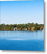 Sailboat And Cottages On Rocky Metal Print