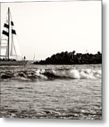 Sailboat And Lighthouse 2 Metal Print
