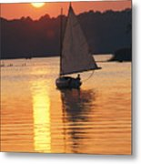 Sailboat And Sunset, South River Metal Print