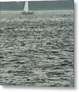 Sailboat And Waves, Piscataqua River, Maine 2004 Metal Print