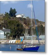 Sailboat At Anchor In Harbor Metal Print