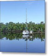 Sailboat At Dock Florida Metal Print