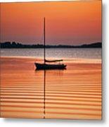 Sailboat At Sunset Metal Print