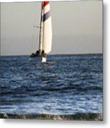 Sailboat Coming Ashore 1 Metal Print