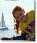 Sailboat Girl Metal Print
