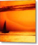Sailboat In Orange Metal Print