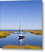 Sailboat In Salt Marsh Metal Print