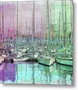 Sailboat Lineup - Watercolor Metal Print