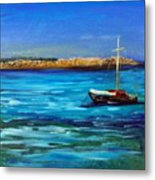 Sailboat Off Karpathos Greece Greek Islands Sailing Metal Print