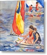 Sailboat Painting In Watercolor Metal Print