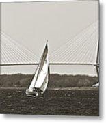 Sailboat Sailing Cooper River Bridge Charleston Sc Metal Print by Dustin K Ryan
