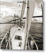 Sailboat Sailing Past Arthur Ravenel Jr Bridge Charleston Sc Metal Print