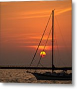 Sailboat Sunrise Chicago Metal Print