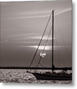 Sailboat Sunrise In B And W Metal Print
