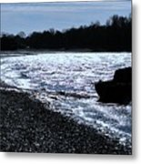 Sailboat Washes Up On Sandbar Metal Print