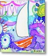 Sailboat With Sun Metal Print