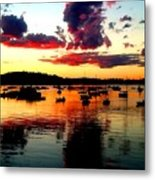 Sailboats And Sunset Sky In Hingham, Ma Metal Print