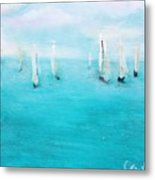 Sailboats  Metal Print by Chaline Ouellet