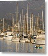 Sailboats Docked In The Santa Barbara Metal Print