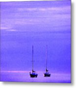 Sailboats In Blue Metal Print