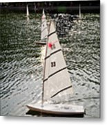 Sailboats In Central Park Metal Print