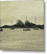 Sailboats In Gloucester Harbor Metal Print