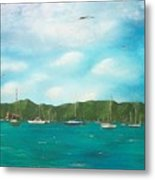 Sailboats In Harbor Metal Print