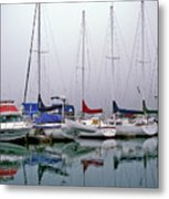 Sailboats In The Fog Metal Print