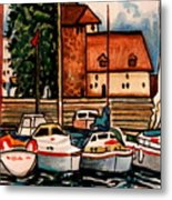 Sailboats In The Harbor Metal Print