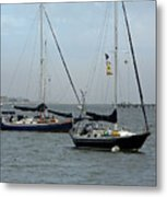 Sailboats In The Inlet Metal Print