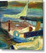 Sailboats Moored Metal Print