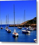 Sailboats Moored In Rockport Harbour. Metal Print