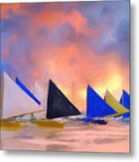 Sailboats On Boracay Island Metal Print