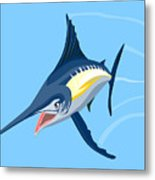 Sailfish Diving Metal Print