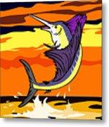 Sailfish Jumping Retro Metal Print