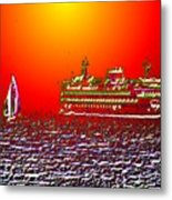 Sailin The Sound Metal Print