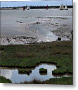Sailing At Low Tide Metal Print