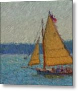 Sailing At Spruce Point Boothbay Harbor Maine Metal Print