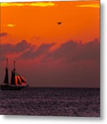 Sailing Boat At Sunset Metal Print