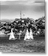 Sailing Boat  Black-and-white Metal Print