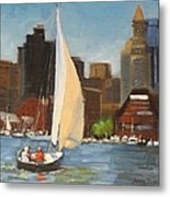 Sailing Boston Harbor Metal Print