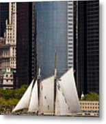 Sailing By Downtown Metal Print