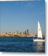 Sailing By Seattle Metal Print