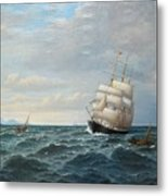 Sailing By The Coas Metal Print