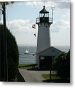 Sailing By The Lighthouse Metal Print