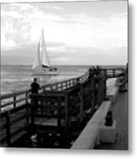 Sailing By The Old Pier Metal Print