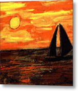 Sailing Home At Sunset Metal Print
