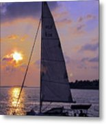 Sailing Home Sunset In Key West Metal Print