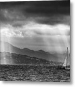 Sailing In Black And White Metal Print